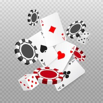Carte da poker con assi cadenti o volanti, gettoni e dadi. giocando a carte. casinò