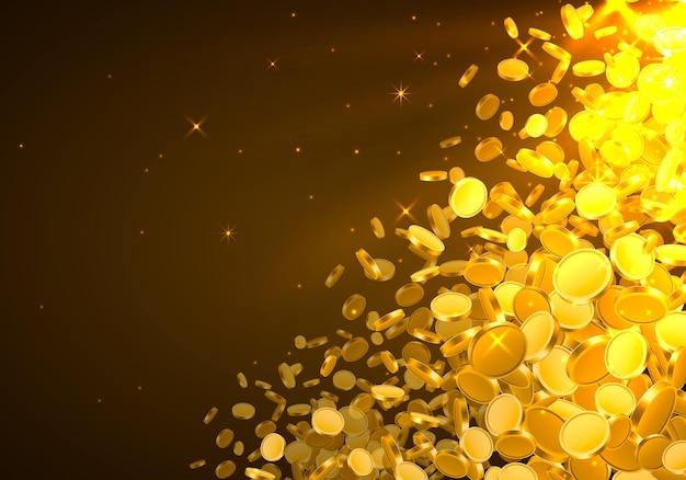 Dall'alto cadono molte monete su fondo dorato. illustrazione vettoriale