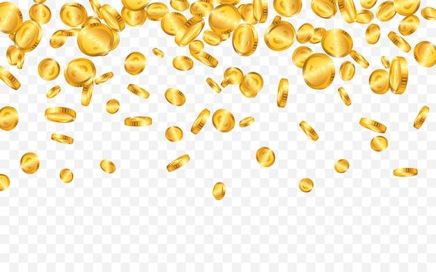 Cadono dall'alto molte monete d'oro in euro