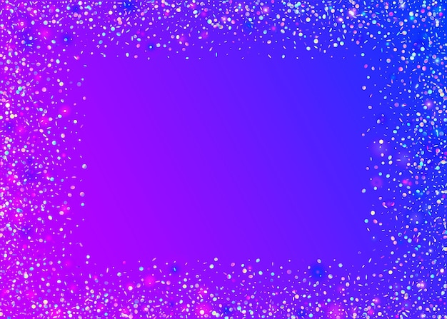 Abbagliamento che cade. sfondo realistico retrò. tinsel trasparente. sfocatura dello sfondo blu. foglio di festa. arte webpunk. volantino discoteca. coriandoli di carnevale. bagliore cadente viola