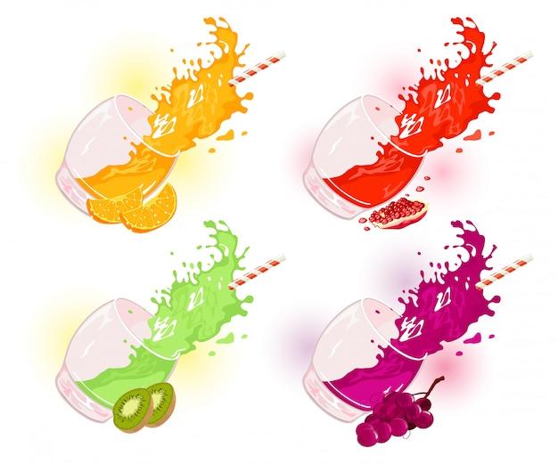 Tazze di vetro che cadono, macchie colorate di succhi di frutta o cocktail e frutta, bacche.