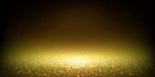 Faretto di polvere scintillante che cade, bokeh di luci sfocate di lusso.