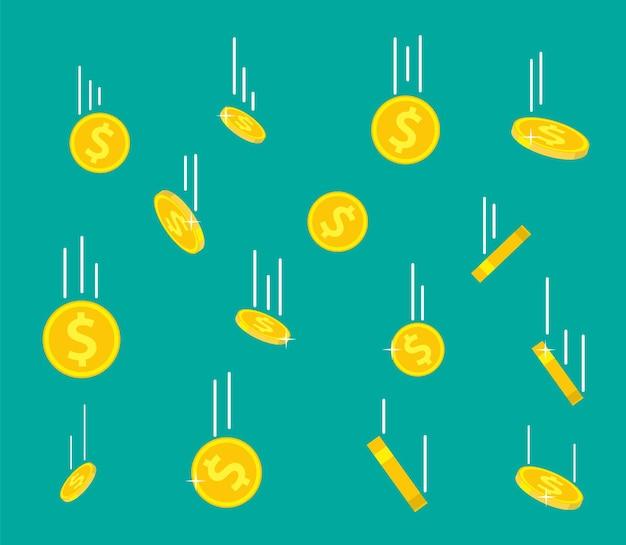 Monete d'oro che cadono. pioggia di soldi. moneta da un dollaro d'oro volante. crescita, reddito, risparmio, investimento. simbolo di ricchezza. successo aziendale. illustrazione vettoriale in stile piatto