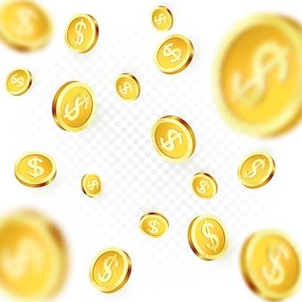 Monete d'oro che cadono isolate su sfondo trasparente