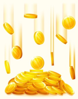 Monete d'oro che cadono. pioggia dalle monete d'oro. soldi pioggia dorata. pila di monete