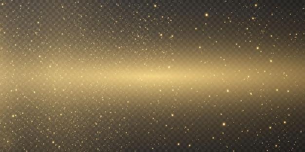 Caduta di luci dorate. polvere d'oro e bagliore. particelle d'oro e glitter.