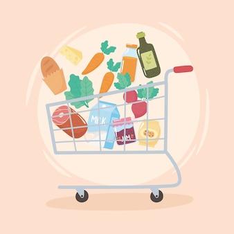 Merci che cadono nel carrello della spesa, acquisti di generi alimentari