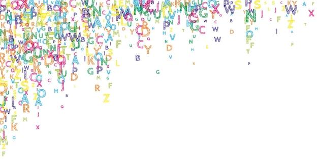 Lettere cadenti di lingua inglese. parole volanti disegnate a mano luminose dell'alfabeto latino. concetto di studio delle lingue straniere. attraente back to school banner su sfondo bianco.