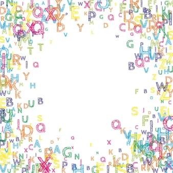 Lettere cadenti di lingua inglese. parole volanti disegnate a mano luminose dell'alfabeto latino. concetto di studio delle lingue straniere. incantevole banner di ritorno a scuola su sfondo bianco.