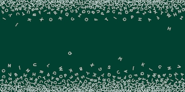 Lettere cadenti di lingua inglese. chalk schizzo parole volanti dell'alfabeto latino. concetto di studio delle lingue straniere. perfetto back to school banner su sfondo lavagna.