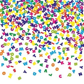 Lettere cadenti di lingua inglese. parole volanti colorate dell'alfabeto latino. concetto di studio delle lingue straniere. prezioso back to school banner su sfondo bianco.