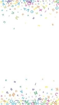 Lettere cadenti di lingua inglese. schizzo disordinato colorato parole volanti dell'alfabeto latino. concetto di studio delle lingue straniere. ordinato torna a banner di scuola su sfondo bianco.