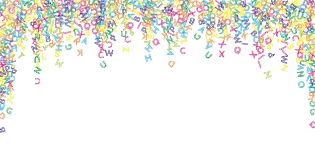 Lettere cadenti di lingua inglese. schizzo colorato parole volanti dell'alfabeto latino. concetto di studio delle lingue straniere. simmetrico back to school banner su sfondo bianco.
