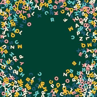 Lettere cadenti di lingua inglese. parole volanti pastello dell'alfabeto latino. concetto di studio delle lingue straniere. favoloso banner di ritorno a scuola sullo sfondo della lavagna.