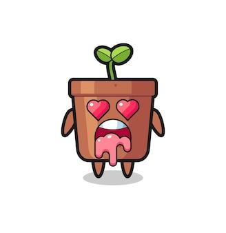 L'espressione innamorata di un simpatico vaso per piante con occhi a forma di cuore, design in stile carino per t-shirt, adesivo, elemento logo