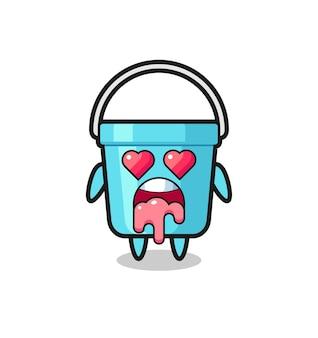L'espressione innamorata di un simpatico secchio di plastica con occhi a forma di cuore, design in stile carino per t-shirt, adesivo, elemento logo