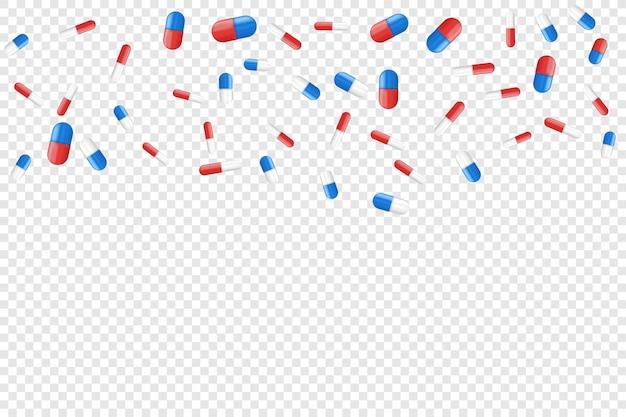 Pillole mediche che cadono. sfondo di medicina.