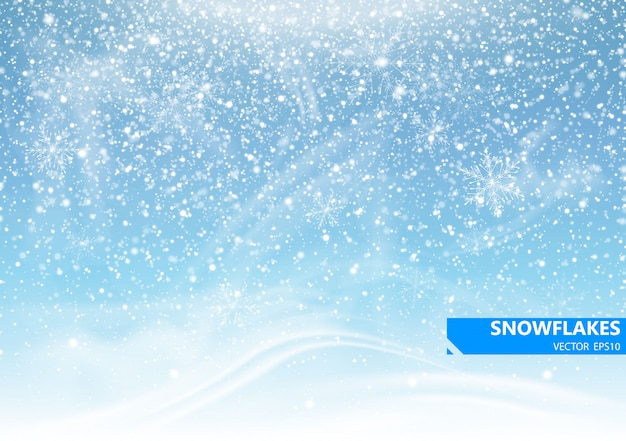 Neve che cade su uno sfondo blu. bufera di neve e fiocchi di neve. sfondo per le vacanze invernali. illustrazione