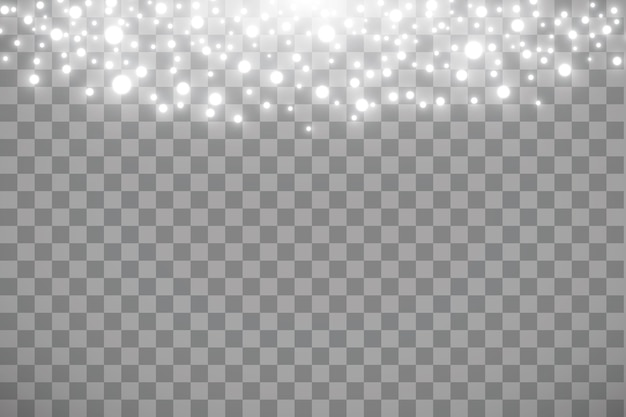 Effetto neve che cade isolato su sfondo trasparente