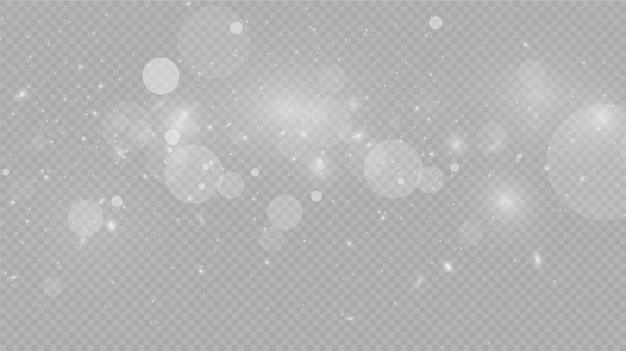 Neve che cade su grigio, vettore. tempo di natale. sfondo effetto luce bagliore