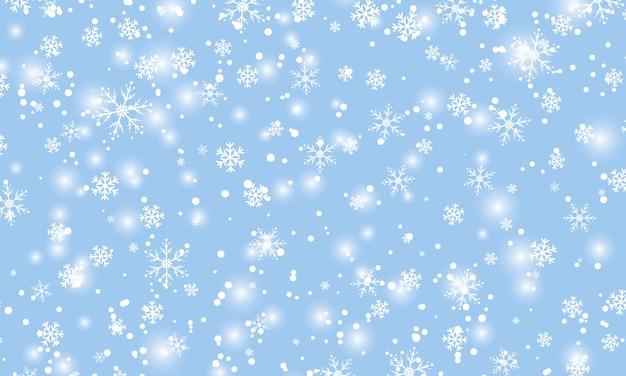 Neve che cade. illustrazione. fiocchi di neve bianchi. cielo blu invernale. texture di natale. sfondo di caduta di neve. Vettore Premium