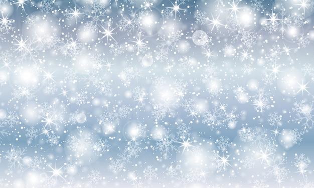 Neve che cade. illustrazione con fiocchi di neve. cielo blu invernale. trama di natale. sparkle sfondo di neve.