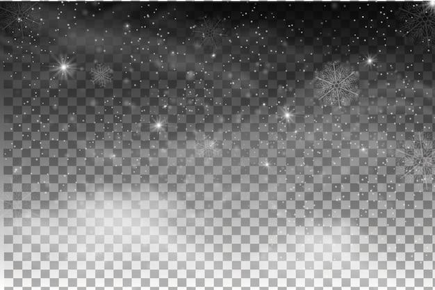 Neve che cade isolato su sfondo scuro. effetto decorativo trasparente fiocco di neve. trama magica nevicata bianca. tempesta di neve invernale