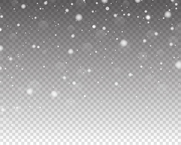 Neve che cade isolata su sfondo trasparente
