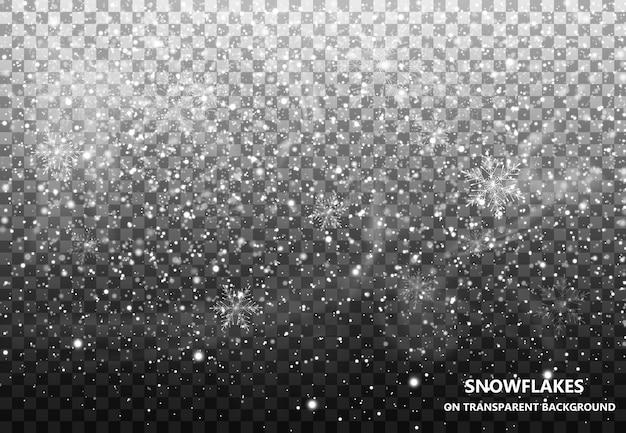La neve che cade su uno sfondo trasparente. nevicata. natale. fiocchi di neve. illustrazione di fiocco di neve