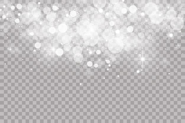 Neve che cade su sfondo trasparente