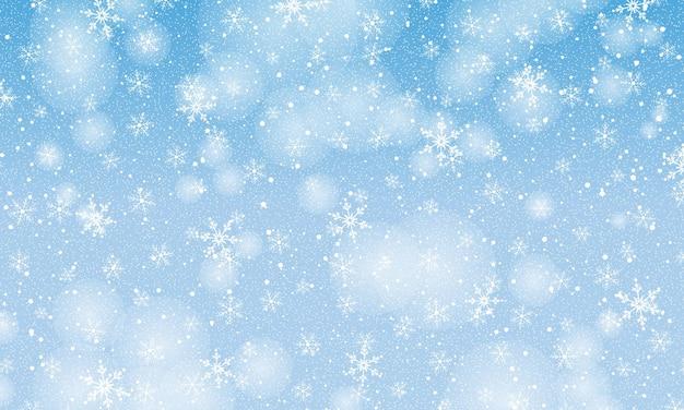 Neve che cade. illustrazione vettoriale con fiocchi di neve. cielo invernale. trama di natale. sfondo di neve scintillante.
