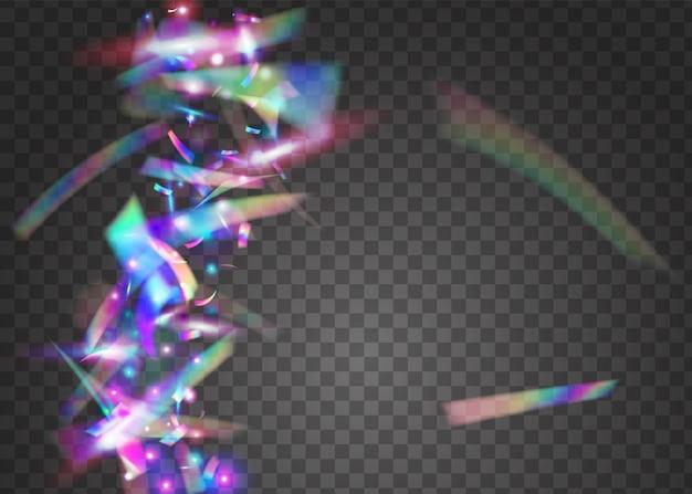 Scintille che cadono. modello multicolore in metallo. glitch glitter. abbagliamento trasparente. bandiera della discoteca. arte digitale. foglio di lusso. tinsel blu lucido. scintille viola che cadono