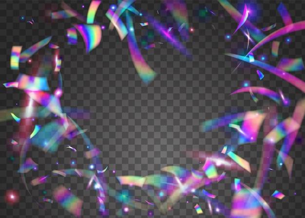 Scintille che cadono. progettazione del partito. sfocatura modello vaporwave. sfondo trasparente. glitch tinsel. arte digitale. foglio di vacanza. lucentezza di metallo rosa. scintille viola che cadono