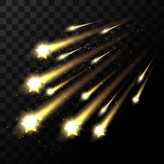 Stelle cadenti su sfondo trasparente. luce della stella spaziale che spara nell'oscurità. stella scintillante nell'illustrazione dell'universo