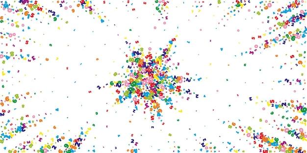 Numeri vividi in calo. concetto di studio matematico con cifre volanti. ineguagliabile torna al banner di matematica della scuola su sfondo bianco. illustrazione di vettore di numeri che cadono.