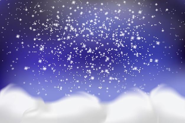 Neve bianca che cade e cumuli di neve