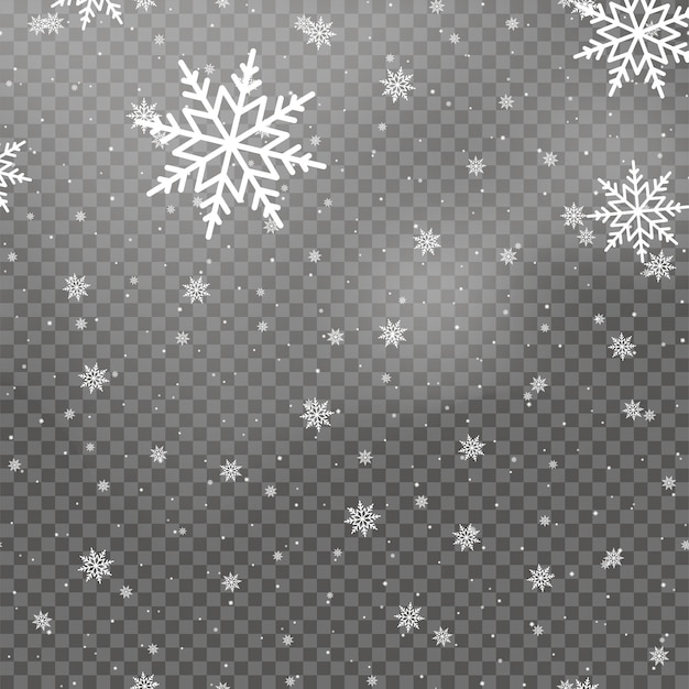 Fiocchi di neve bianchi che cadono per natale su sfondo trasparente. vettore