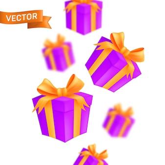 Scatole regalo avvolte che cadono.