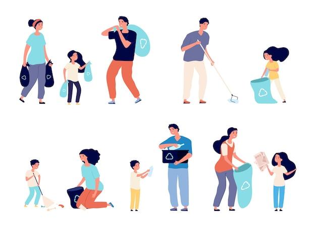 Le famiglie raccolgono la spazzatura. uomini donne e bambini che smistano i rifiuti riciclati.