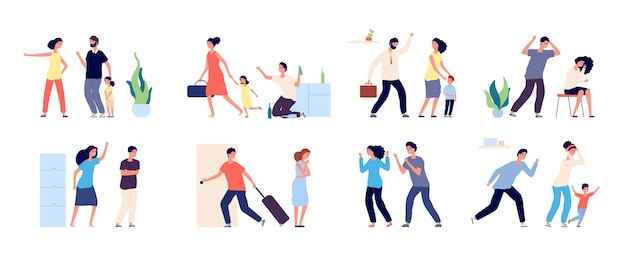 Abuso familiare. persone arrabbiate che rimproverano, combattono e soffrono.