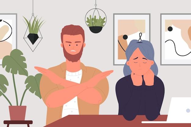La coppia di abusi in famiglia litiga con il marito arrabbiato che urla alla moglie che litiga