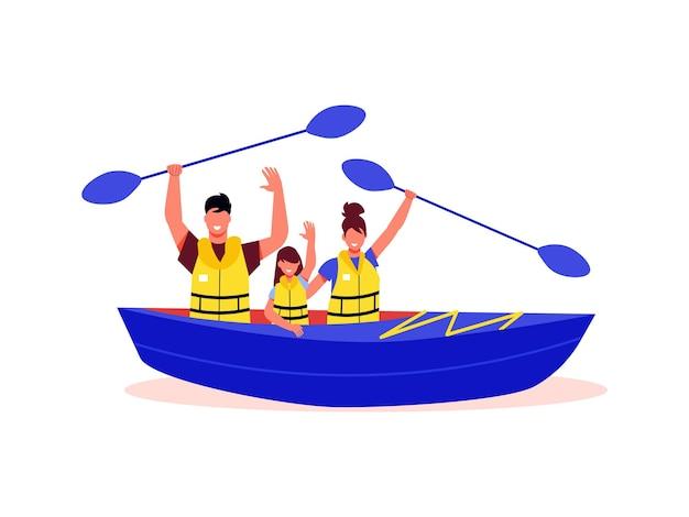 Composizione di vacanze attive in famiglia con personaggi di membri della famiglia seduti in barca che tengono i remi