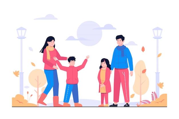 Attività familiari nell'illustrazione del concetto di autunno