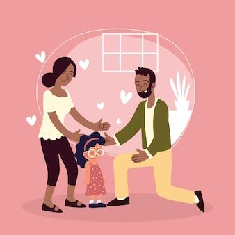 Famiglia e bambina adottata