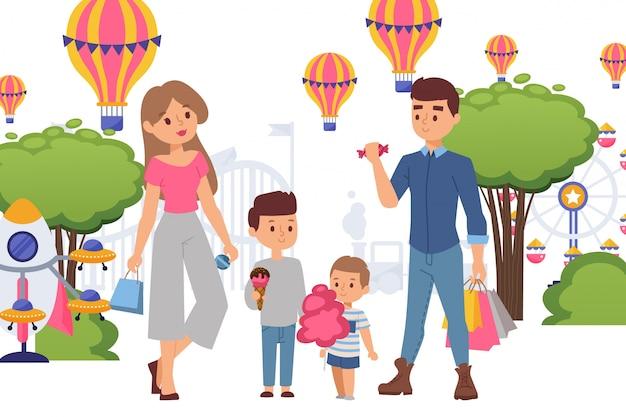 La famiglia in parco di divertimenti compra i dolci per i bambini, illustrazione. figliolini che tengono gelato e zucchero filato, coppia