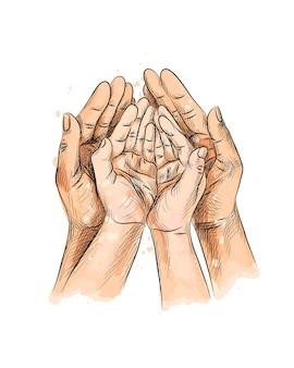 Mani del bambino della famiglia, mano del bambino appena nato nelle mani dei genitori del padre della madre, concetto di protezione della casa