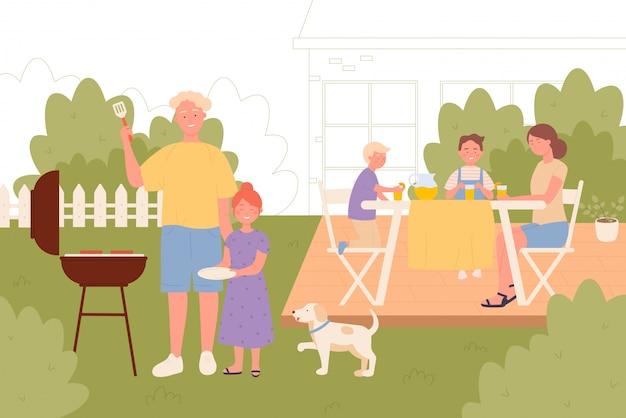 Famiglia sull'illustrazione di vettore insieme di picnic del cortile posteriore