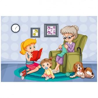Disegno di sfondo famiglia Vettore Premium
