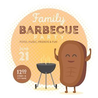 Modello di invito per una festa barbecue in famiglia. simpatico personaggio bistecca tempo barbecue. illustrazione vettoriale di sfondo retrò.