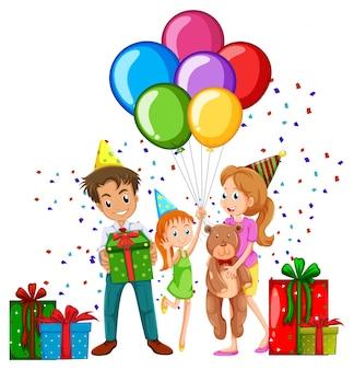 Famiglia alla festa di compleanno con palloncini e regali